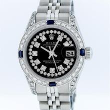 Rolex Stainless Steel Black String Diamond VVS DateJust Ladies Watch