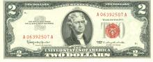 1963 $2 Choice Circulated Red Seal Note