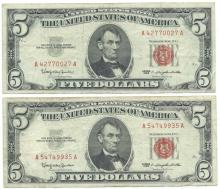 1963 $5 Fine Red Seal Bill Lot of 2
