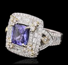 18KT Two-Tone Gold 3.20 ctw Tanzanite and Diamond Ring