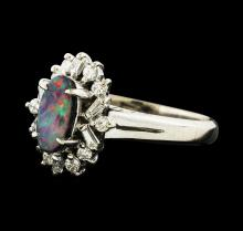 0.62 ctw Black Opal and Diamond Ring - Platinum