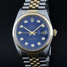 Rolex Two-Tone Blue Diamond DateJust Men's Watch