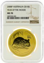 2008P NGC MS70 $100 Year Of The Mouse Gold Coin