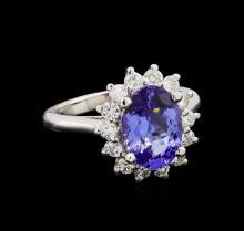 3.00 ctw Tanzanite and Diamond Ring - 14KT White Gold