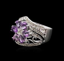 14KT White Gold 1.25 ctw Amethyst and Diamond Ring