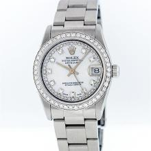 Rolex Stainless Steel MOP String VVS Diamond DateJust Midsize Watch