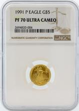 1991-P NGC PF 70 Ultra Cameo $5 American Eagle Gold Coin