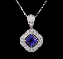 14KT White Gold 2.31 ctw Tanzanite and Diamond Pendant With Chain