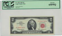 1963 $2 PCGS Gem New 65PPQ Legal Tender Note