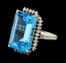 19.91 ctw Blue Topaz and Diamond Ring - Platinum