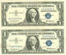 $1 XF/AV Silver Certificate Currency Lot of 2