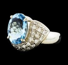 3.80 ctw Aquamarine and Diamond Ring - Platinum