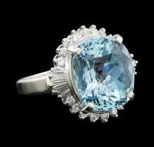 9.66 ctw Aquamarine and Diamond Ring - Platinum