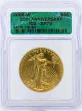 2006-W ICG SP70 20th Anniversary $50 American Eagle Gold Coin