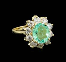 3.03 ctw Emerald and Diamond Ring - 14KT Yellow Gold