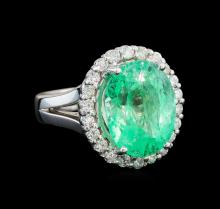GIA Cert 9.66 ctw Emerald and Diamond Ring - 14KT White Gold