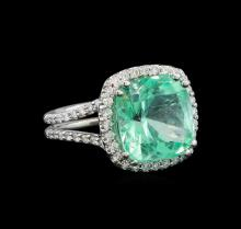 GIA Cert 7.73 ctw Emerald and Diamond Ring - 14KT White Gold