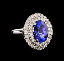 14KT White Gold 5.02 ctw Tanzanite and Diamond Ring