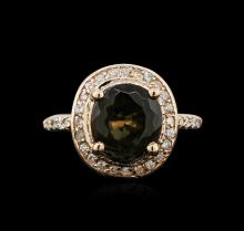 4.76 ctw Tourmaline and Diamond Ring - 14KT Rose Gold