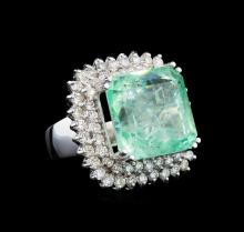 23.37 ctw Emerald and Diamond Ring - 14KT White Gold