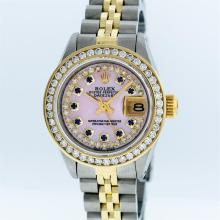 Rolex Two-Tone Pink MOP Sapphire Channel Set Diamond DateJust Ladies Watch