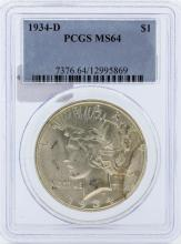 1934-D PCGS MS64  Double Die Medium D Peace Silver Dollar
