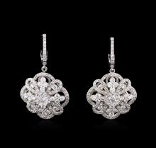 2.73 ctw Diamond Dangle Earrings - 14KT White Gold