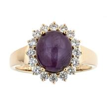 5.21 ctw Star Ruby and Diamond Ring - 14KT Yellow Gold