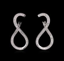 0.90 ctw Diamond Earrings - 14KT White Gold