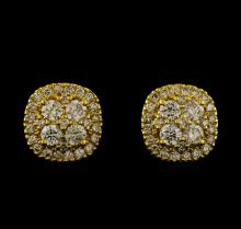 2.15 ctw Diamond Earrings - 14KT Yellow Gold