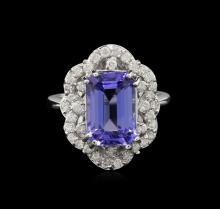6.06 ctw Tanzanite and Diamond Ring - 14KT White Gold