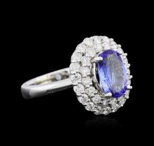 1.92 ctw Tanzanite and Diamond Ring - 14KT White Gold