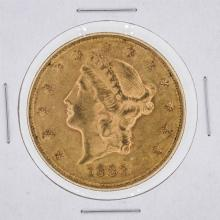 1883-S $20 AU Liberty Head Double Eagle Gold Coin