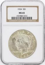 1924 NGC MS65 Peace Silver Dollar