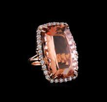 GIA Cert 44.21 ctw Morganite and Diamond Ring - 14KT Rose Gold