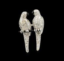 1.90 ctw Diamond Parrot Pin - 18KT White Gold