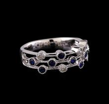 0.30 ctw Blue Sapphire and Diamond Ring - 14KT White Gold