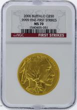 2006 NGC MS70 $50 Buffalo .9999 Fine First Strike Gold Coin