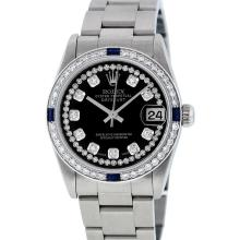 Rolex Stainless Steel Diamond and Sapphire DateJust Midsize Watch