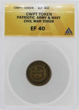 Civil War Patriotic Army & Navy Token ANACS XF40