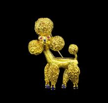 18KT Yellow Gold 0.47 ctw Sapphire and Ruby Poodle Brooch