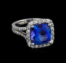 5.64 ctw Tanzanite and Diamond Ring - 14KT White Gold