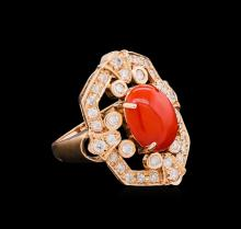 14KT Rose Gold 3.17 ctw Coral and Diamond Ring