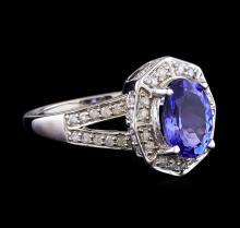 1.79 ctw Tanzanite and Diamond Ring - 14KT White Gold