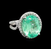 GIA Cert 8.54 ctw Emerald and Diamond Ring - 14KT White Gold