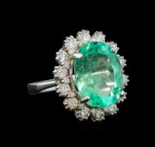 GIA Cert 8.94 ctw Emerald and Diamond Ring - 14KT White Gold