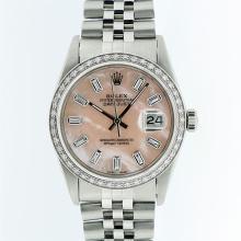 Rolex Stainless Steel Pink MOP Diamond DateJust Men's Watch