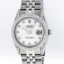 Rolex Stainless Steel MOP VVS Diamond DateJust Men's Watch