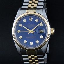 Rolex Two-Tone Blue Diamond DateJust Men's Watch