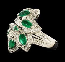 1.18 ctw Emerald and Diamond Ring - Platinum